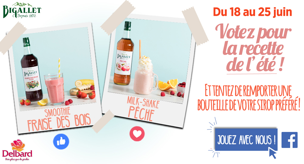 Bigallet Jeu Concours Delbard sirop fraise peche